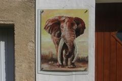 Big Tusker, 85x110cm, Acryl auf Aludibondplatte, an Hauswand