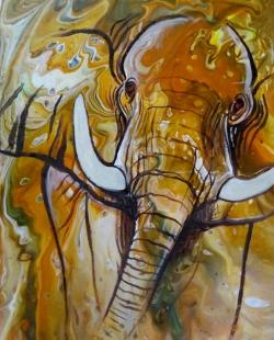 Elefant, 30x40cm, Pouring, Acryl auf Malplatte