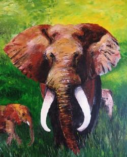Elefantenbulle, 50x70cm, Acryl auf Keilrahmen