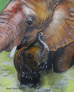 Elefanten, 30x40cm, Acryl auf Keilrahmen