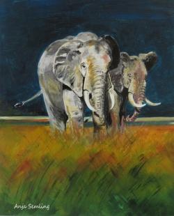 Elefanten-Bullen, 30x40cm, Acryl auf Karton
