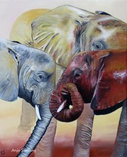 Savannen-Elefanten, 40x50cm, Acryl auf Keilrahmen