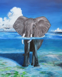 Elefant, 40x50cm, Acryl auf Keilrahmen