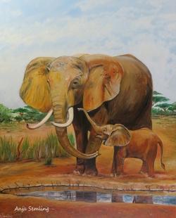 Elefantenkuh und Kalb, 50x70cm, Acryl auf Keilrahmen