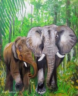 Waldelefanten, 30x40cm, Acryl auf Malpapier