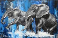 Elefanten, 60x80cm, Acryl auf Keilrahmen