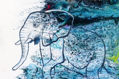 Elefant, 30x40cm, Acryl auf Malplatte, Pouring
