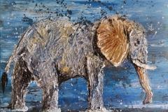 Elefant, 30x40cm, Spachtelarbeit, Acryl auf Keilrahmen