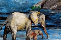 Elefanten, 50x60cm, Acryl auf Keilrahmen