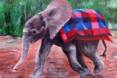 Elefantenwaise, 40x50cm, Acryl auf Keilrahmen