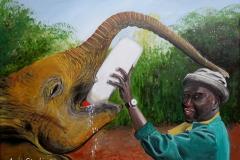 Elefantenwaise und Pfleger, 30x40cm, Acryl auf Keilrahmen