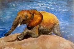Elefantenwaise, 60x70cm, Acryl auf Keilrahmen