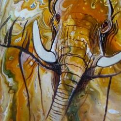 Pouring mit Elefantenmotiv. Acrylfarben auf Malplatte, 30x40cm.