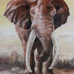 Big Tusker (mächtiger Elefant), Acryl farben auf Aludibond, 85x110cm.