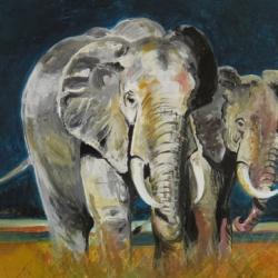 Elefanten , Acryl auf Karton, 30x40cm.
