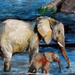 Elefanten , Acryl auf Leinwand, 50x60cm, Spachtelarbeit.