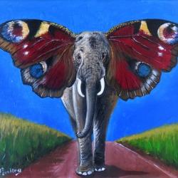 Elefant mit Schmetterlingsohren, Acryl auf Leinwand, 24x30cm, verkauft.