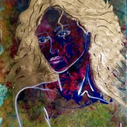 Portrait einer Frau, 40x60cm, Acrylfarben auf Malpapier.