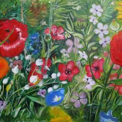 Wildblumenwiese. Acrylfarben, Format: ca. 30 x 40 cm, Malpapier. Eigene Fotografie als Vorlage.