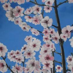 Mandelblüten. Acrylfarben auf Malplatte, 30x40cm, verschenkt.