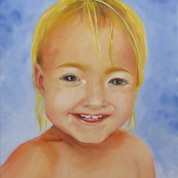 Portrait Kleinkind. Künstleracrylfarben auf Keilrahmen, 30x40cm, verkauft.
