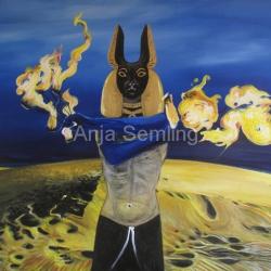 Anubis, 50x70cm, Acryl auf Keilrahmen