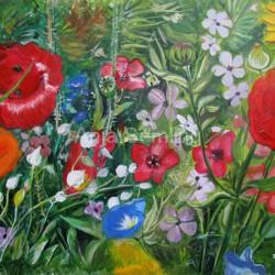 Blumenwiese, 30x40cm, Acryl auf Malpapier. Verschenkt.