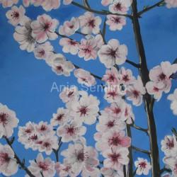 Mandelblüten, 30x40cm, Acryl auf Malplatte