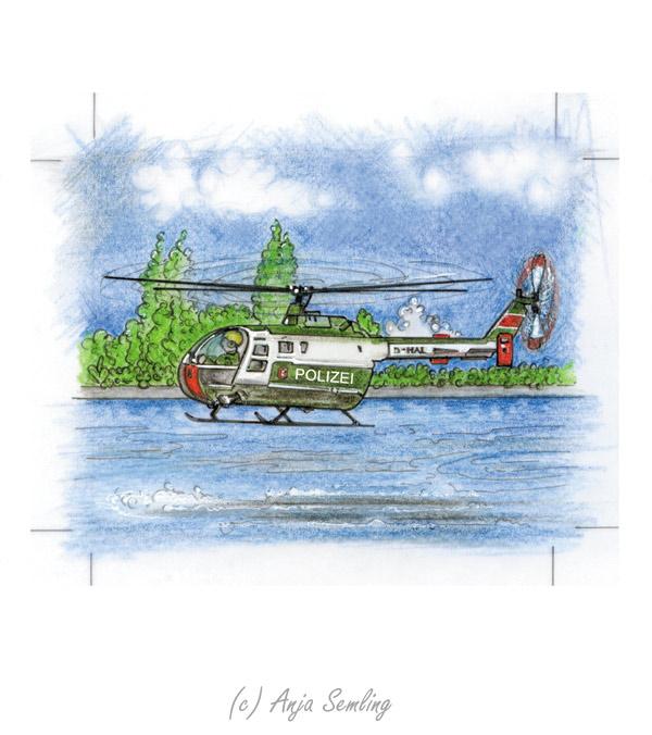 Illustration: Polizei-Hubschrauber