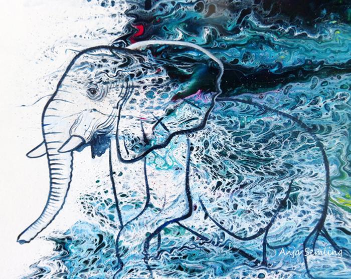Bildkunst: Elefant , Acryl-Pouring