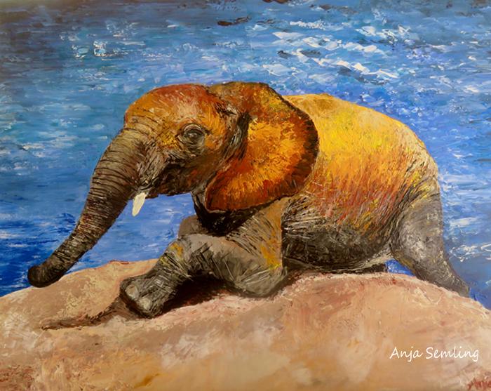 Bildkunst: Elefant , Spachtelarbeit