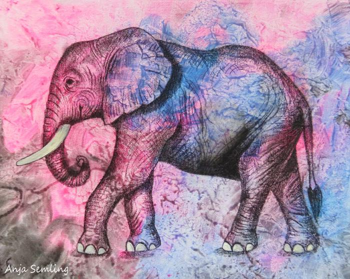 Bildkunst: Elefant , MixedMedia