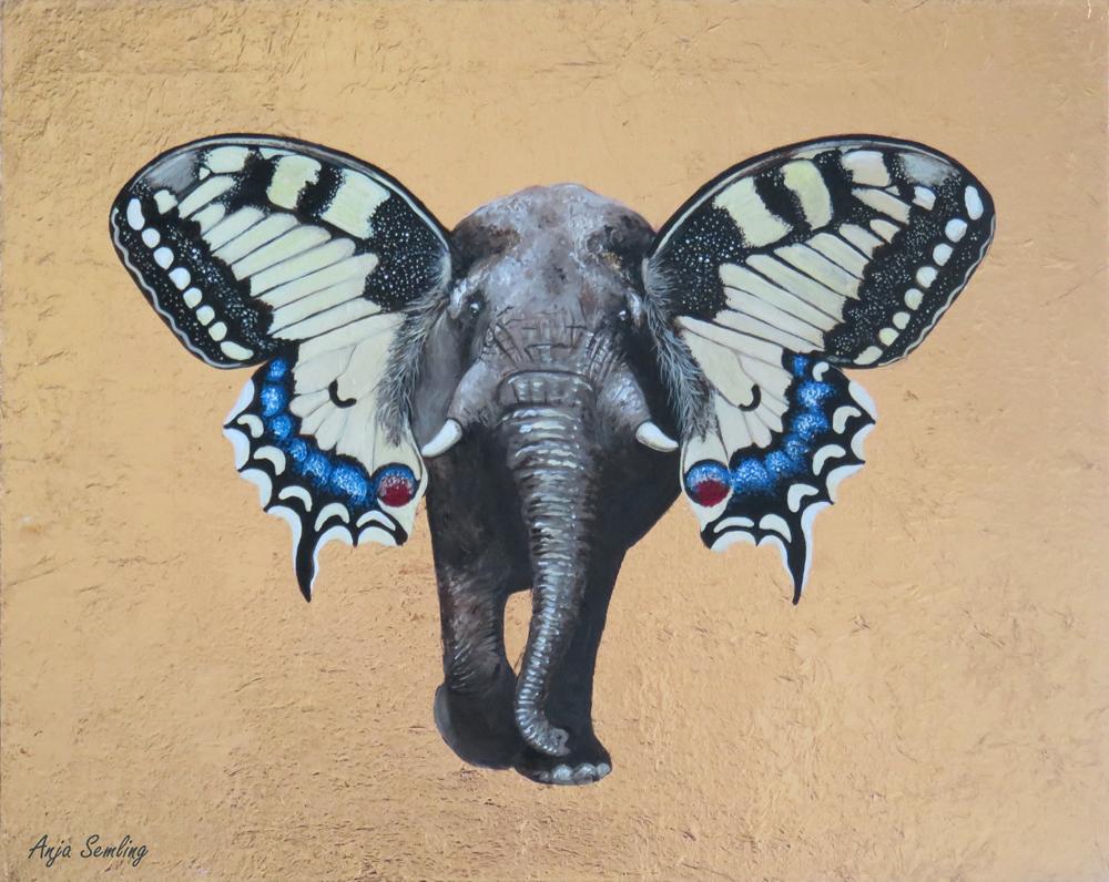 Elefant + Schmetterling Symbiose