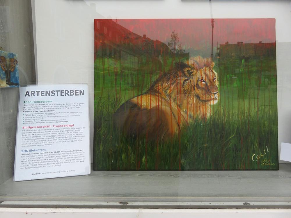 Gemälde Löwe Cecil - Anti-Trophäenjagd