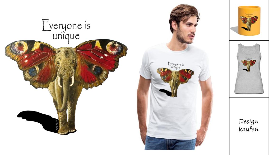 Design Elefant Schmetterling