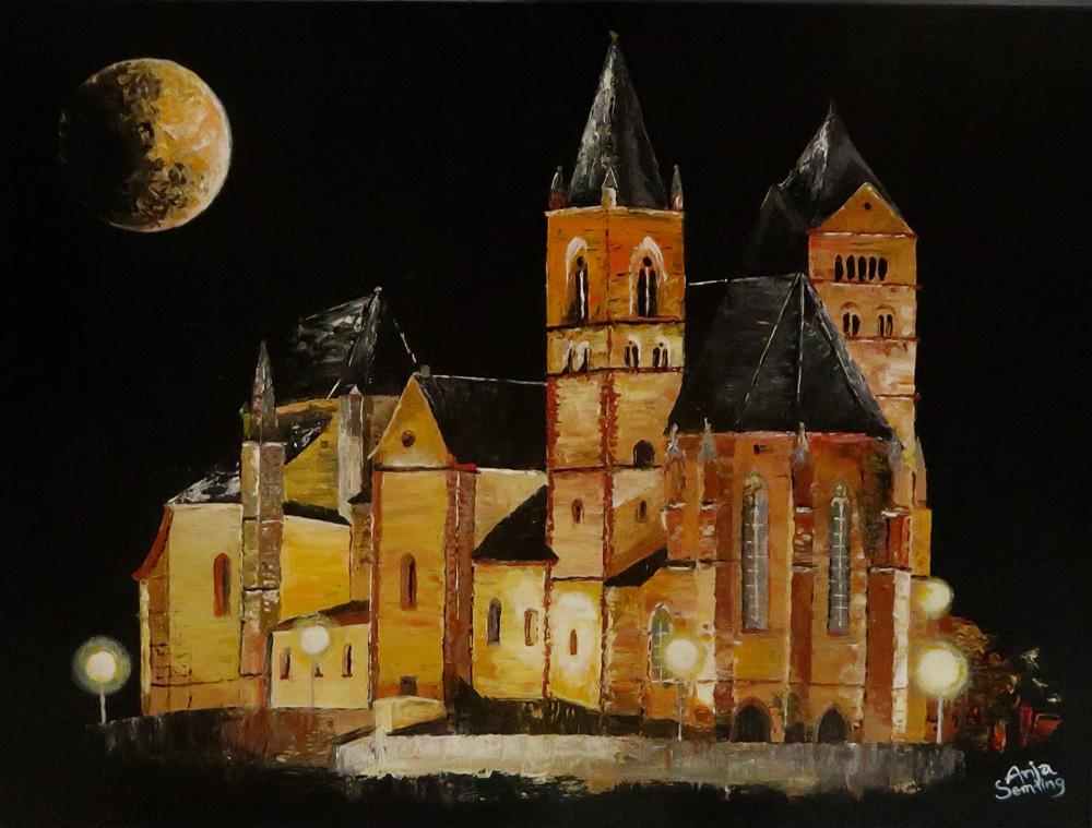 Münster in Breisach, bei Nacht. Vollmond. Kunstwerk
